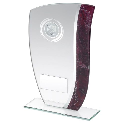 Jade Glass with Claret Silver Marble Detail and Hockey Insert Trophy Award 6.5in : New 2020
