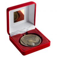 Red Velvet Box And 60mm Medal Hockey Trophy Antique Gold 4in - New 2019