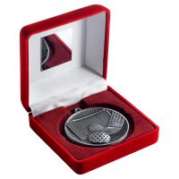 Red Velvet Box And 60mm Medal Hockey Trophy Antique Silver 4in - New 2019