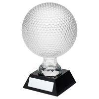 Clear Glass Golf Ball On Black Base Trophy Award (4 inch Dia) 6.5in : New 2020