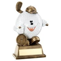 Bronze White Comedy Golf Ball Figure Trophy 5.75in - New 2019