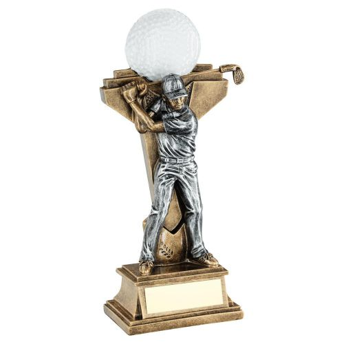 Bronze Pewter Male Golf Figure with Ball On Backdrop Trophy Award 9.5in : New 2020