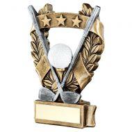 Bronze Pewter White Gold Golf 3 Star Wreath Award Trophy 5in - New 2019