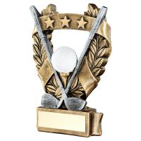 Bronze Pewter White Gold Golf 3 Star Wreath Award Trophy 5in - New 2019