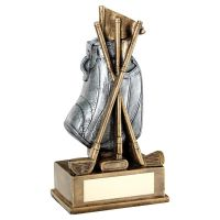 Bronze Pewter Golf Bag With Clubs Trophy 5.75in - New 2019