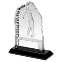 Clear Glass Frosted Golf Iceberg On Black Base Trophy Award 5in : New 2020