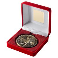 Red Velvet Box And 60mm Medal Golf Trophy Antique Gold 4in - New 2019