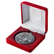 Red Velvet Box And 60mm Medal Golf Trophy Antique Silver 4in - New 2019