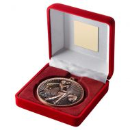 Red Velvet Box And 60mm Medal Golf Trophy Bronze 4in - New 2019