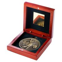 Rosewood Box And 60mm Medal Golf Trophy Antique Gold 4.25in : New 2019
