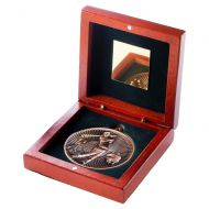 Rosewood Box And 60mm Medal Golf Trophy Bronze 4.25in - New 2019