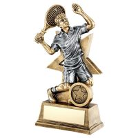 Bronze Gold Pewter Male Tennis Figure With Star Backing Trophy 9in - New 2019