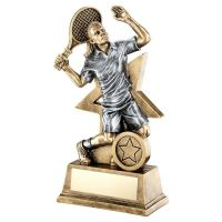 Bronze Gold Pewter Female Tennis Figure With Star Backing Trophy 9in - New 2019