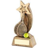 Brz|Gold|Yellow Tennis Rackets|Ball With Shooting Star Trophy - 5.75in