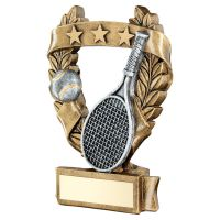 Bronze Pewter Gold Tennis 3 Star Wreath Award Trophy 6.25in - New 2019