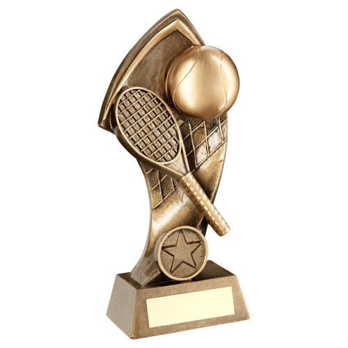 Bronze Gold Tennis With Twisted Backdrop Trophy 7in - New 2019