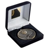 Black Velvet Box And 60mm Medal Tennis Trophy Bronze 4in : New 2019