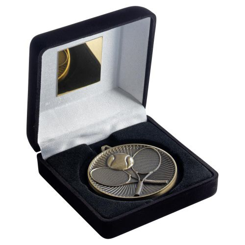 Black Velvet Box And 60mm Medal Tennis Trophy Antique Gold 4in - New 2019