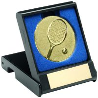 Black Plastic Box with Tennis Insert Trophy Award Gold 3.5in : New 2020