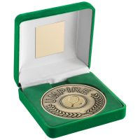 Green Velvet Box and 70mm Umpire Medallion with Tennis Insert Antique Gold 4in : New 2020