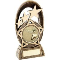 Bronze Gold Generic Tri-Star Oval With Shooting Insert Trophy 7.25in - New 2019