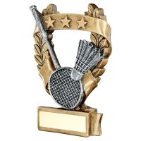 Bronze Pewter Gold Badminton 3 Star Wreath Award Trophy 6.25in - New 2019