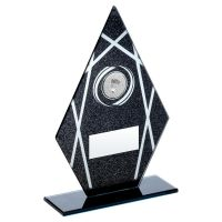 Black Silver Printed Glass Diamond With Badminton Insert Trophy 7.25in - New 2019