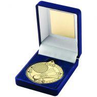 Blue Velvet Box And 50mm Medal Badminton Trophy Gold 3.5in - New 2019