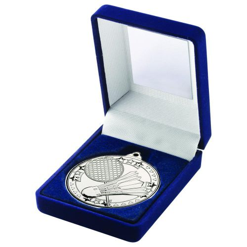 Blue Velvet Box And 50mm Medal Badminton Trophy Silver 3.5in - New 2019