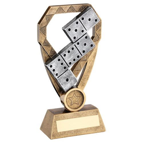 Bronze Pewter Gold Dominoes On Diamond Trophy Award 6in : New 2020