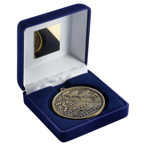 Blue Velvet Box And 60mm Medal Swimming Trophy Antique Gold 4in - New 2019