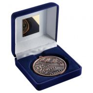 Blue Velvet Box And 60mm Medal Swimming Trophy Bronze 4in - New 2019