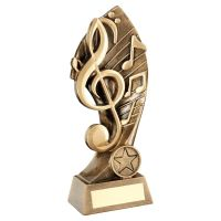 Bronze Gold Music With Twisted Backdrop Trophy 7.25in - New 2019