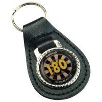 Darts 180 Black Leather Key Fob 2.5in