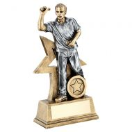 Bronze Gold Pewter Male Darts Figure With Star Backing Trophy 6in - New 2019