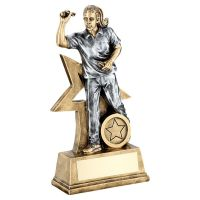 Bronze Gold Pewter Female Darts Figure With Star Backing Trophy 7in - New 2019