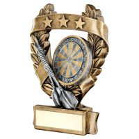 Bronze Pewter Gold Darts 3 Star Wreath Award Trophy 7.5in - New 2019
