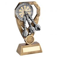 Bronze Pewter Gold Darts with Dartboard On Diamond Trophy Award 8in : New 2020
