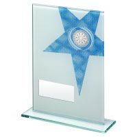 White Blue Printed Glass Rectangle With Darts Insert Trophy 8in - New 2019