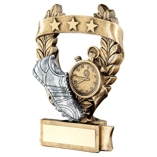 Bronze Pewter Gold Athletics 3 Star Wreath Award Trophy 7.5in - New 2019