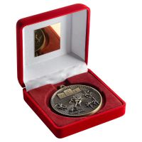 Red Velvet Box And 60mm Medal Athletics Trophy Antique Gold 4in - New 2019