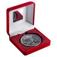 Red Velvet Box And 60mm Medal Athletics Trophy Antique Silver 4in - New 2019
