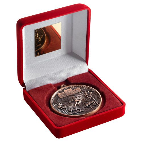 Red Velvet Box And 60mm Medal Athletics Trophy Bronze 4in - New 2019