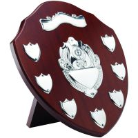 Mahogany Shield Trophy Award Chrome Fronts 7 Record Shield Trophy Awards 11in