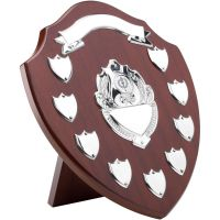 Mahogany Shield Trophy Award Chrome Fronts 9 Record Shield Trophy Awards 12.75in