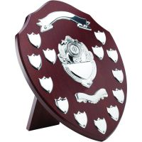 Mahogany Shield Trophy Award Chrome Fronts 13 Record Shield Trophy Awards 14in
