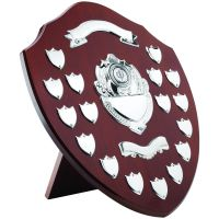 Mahogany Shield Trophy Award Chrome Fronts 17 Record Shield Trophy Awards 16in