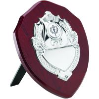 Rosewood Shield Trophy Award Chrome Front 7in