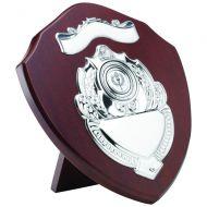 Mahogany Shield Trophy Award Chrome Fronts 9in