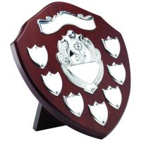 Mahogany Shield Trophy Award Chrome Front 7 Record Shield Trophy Awards (1in Shield Trophy Award) 9in